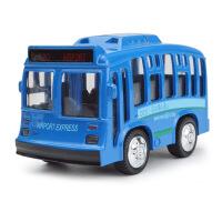 儿童玩具汽车Q版单层巴士公交车合金声音灯光回力车模型玩具