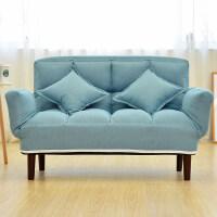 双人小沙发卧室房间折叠可拆洗小户型客厅宿舍懒人沙发床 DY豪华款 湖蓝色