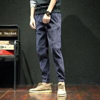 男士运动裤休闲裤子长裤秋冬灯芯绒束脚裤学生9分裤牛仔裤