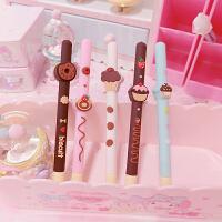 可爱中性笔两支装软萌香味巧克力甜甜圈可爱中性笔黑水笔学生学习文具速干笔