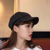 日系休闲帽子女时尚英伦八角帽子 韩版百搭学生街头贝雷帽 格纹鸭舌帽女