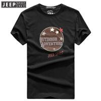 JEEP吉普 短袖t恤男 2018夏季薄款男装 纯棉圆领半袖T恤 时尚休闲青年打底汗衫