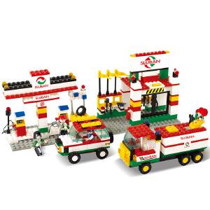【当当自营】小鲁班模拟城市系列儿童益智拼装积木玩具 加油站M38-B2600