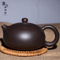 紫气林坤� 宜兴紫砂壶 原矿黑金刚扁西施壶 全手工 茶壶 茶具