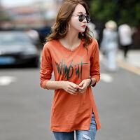 中长款t恤女秋季女装韩版上衣棉质长袖T恤女长款体恤打底衫女