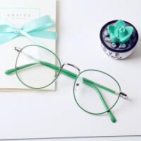 韩版潮圆形眼镜框女近视圆框薄荷绿眼镜文艺平光镜男复古金属粉色
