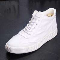 CUM 夏季高帮皮鞋高帮透气小白鞋男士运动休闲鞋增高男短靴子