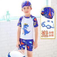 儿童泳衣 男童 分体小中大童可爱温泉婴儿泳裤小孩泳装宝宝游泳衣 +小鱼泳镜