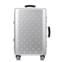 铝合金学生行李箱双排万向轮男女拉杆箱时尚商务旅行箱24寸密码箱 银色 磨砂星星款 20寸