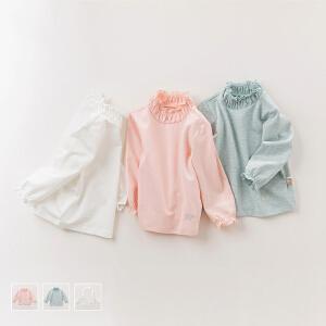 davebella戴维贝拉秋季女童T恤 女宝宝纯色高领打底衫