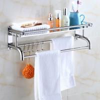 加厚浴巾架毛巾架50厘米不锈钢浴巾架浴室挂件免打孔厕所卫生间置物架壁挂卫浴-浴巾架单层厚款