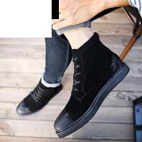 潮牌秋冬男士高帮鞋简约英伦欧洲站百搭休闲高帮皮潮权志龙GD潮板工装短靴子