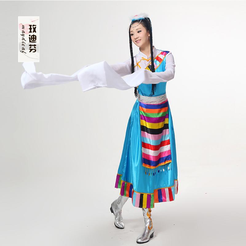 2018新款藏族舞蹈演出服儿童水袖蒙古民族表演服装女