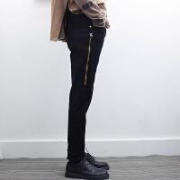 小脚裤男士修身韩版牛仔裤潮流男裤子个性拉链新款另类发型师夜店