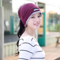 帽子女套头帽头巾帽韩版潮围脖脖套两用月子帽堆堆帽时尚睡帽