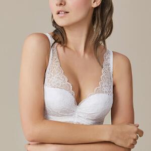 依曼丽性感小胸聚拢美背蕾丝内衣 调整型薄模杯文胸7105