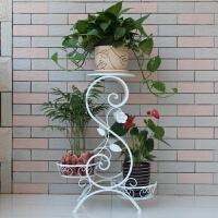 欧式铁艺花架 客厅实木落地花架阳台绿萝多层盆景花盆架 古铜色 花架