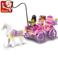 【当当自营】小鲁班粉色梦想女孩系列儿童益智拼装积木玩具 公主马车M38-B0239