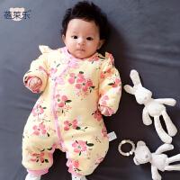 蓓莱乐婴儿连体衣服宝宝新生儿哈衣01岁3月棉衣加厚睡衣冬装冬季6