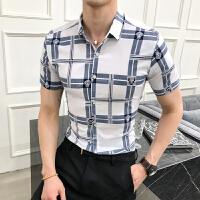 2018夏季新款休闲短袖衬衫男士韩版修身个性格子衬衣商务青年寸衣
