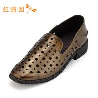 红蜻蜓女鞋春秋新款时尚透气小方跟打孔坡跟休闲舒适单鞋