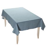 北欧高档圆餐桌布长方形书桌ins学生茶几布茶几桌布布艺棉麻灰色