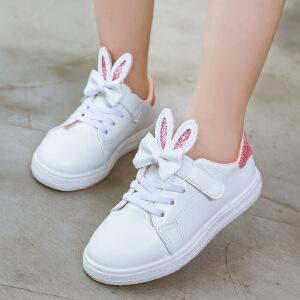 儿童板鞋 女童单色细带蝴蝶结运动鞋秋季韩版新款小白鞋时尚休闲中大童款鞋子