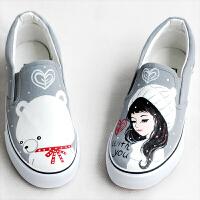 帆布鞋女韩版学生鞋涂鸦手绘鞋一脚蹬布鞋休闲鞋懒人鞋春季新款