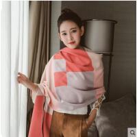 仿羊绒围巾女保暖加大长款韩版时尚格子披肩围巾两用加厚保暖围脖