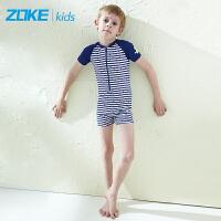洲克新款男女儿童条纹泳衣海军风速干沙滩防晒宝宝连体游泳衣