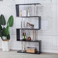 置物架落地实木书架客厅装饰隔断办公室卧室北欧创意不锈钢展示架