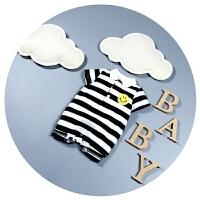 婴儿衣服夏季男女宝宝连体衣短袖0-3-9个月6新生儿爬爬服条纹哈衣