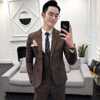 男士西装三件套韩版修身英伦绅士时尚男装青年纯色简约西服套装