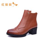 红蜻蜓真皮踝靴新品欧美风宴会粗高跟鞋
