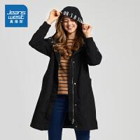 [满99减10元/满199减30元]真维斯女装 春秋装 中长身斜纹连帽风衣外套