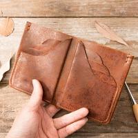 原创手工真皮钱包男士短款复古纯皮钱夹头层牛皮竖款两折皮夹潮 棕色 原创散点纹