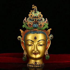 纯铜纯手工打造镶嵌宝石彩绘描金度母佛头一尊