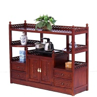 餐边柜 厨房储物收纳柜实木仿古中式碗柜酒柜茶柜客厅玄关茶水柜 全实木对称款118*36*95红色 双门
