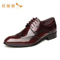 红蜻蜓新款商务潮流舒适低跟粗跟纯色简约休闲皮鞋男WTA7148