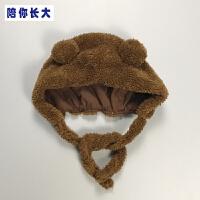 宝宝帽子系带秋冬男女婴儿加绒套头帽加厚新生儿外出潮帽百天拍照