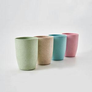 物有物语 牙刷杯 家用简约麦香塑料漱口杯加厚不易破碎秸秆杯洗漱杯子多种款式水杯卫浴用品(十个装)