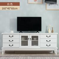 实木电视柜简约现代中式迷你小户型客厅茶几组合高款地柜电视机柜 三层1.6米:白色 整装