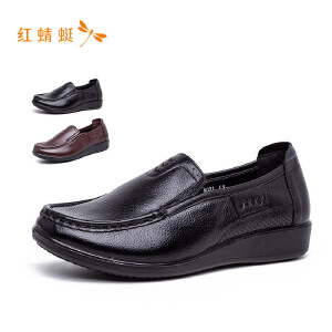红蜻蜓圆头低跟舒适百搭简约时尚女单鞋