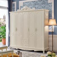 聚家具欧式衣柜实木大衣柜卧室木质衣橱三四门法式白色柜子