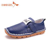 红蜻蜓童鞋方头镂空低跟魔术贴男童儿童小皮鞋511Z61F368