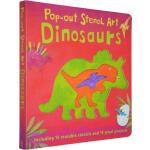英文原版 Pop out Stencil Art Dinosaurs 儿童纸板立体模型书 艺术操作书