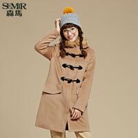 森马毛呢外套 冬装 女士连帽纯色休闲直筒呢子大衣韩版潮