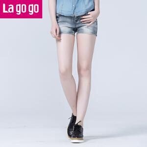 lagogo拉谷谷夏季新款舒适百搭磨白牛仔短裤