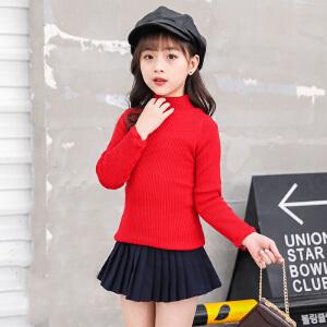 乌龟先森 针织衫 女童长袖高领套头衫秋季新款韩版儿童时尚休闲舒适百搭中大童卫衣