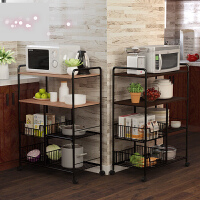 厨房置物架厨房用品收纳架落地多层微波炉储物蔬菜碗架子 r7g
